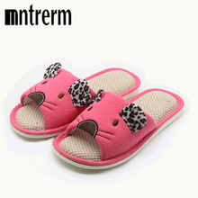 Mntrerm Candy colors Home Slippers Women Bedroom Slippers Women Cartoon Animal Indoor Slippers Cotton Floor Home Flax Shoes(China)
