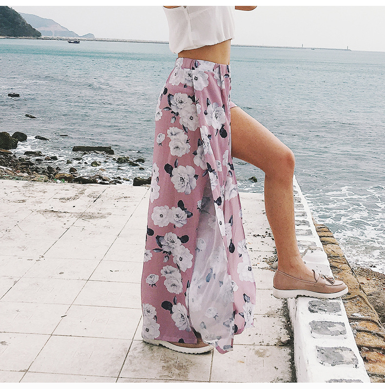 2018 Women Pants Beach Floral Print High Waist Plus Size Loose Chiffon Casual Wide Leg Pants Pink Split Sexy Women Trousers Sale 6