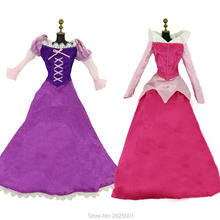 "2 Pcs/lot = 1x Fairy Tale Dress Copy Princess Tangled Outfit + 1x Long Sleeves Copy Sleeping Beauty Costume Clothes For 17"" Doll(China)"