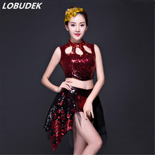 Red black sequins top shorts sets JAZZ Modern dance female costume Teams Cheering squad party stage performance clothing DJ show(China)