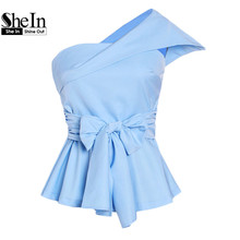 SheIn Women Blouses Summer 2017 Ladies Sexy Tops Blue Fold Over One Shoulder Cap Sleeve Belted Tailored Peplum Top