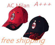 2017 Top quality for AC Milan soccer Red Black football badge caps Adjustable Cotton baseball hats free shipping