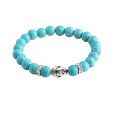 Cindiry Natural Stone Beads Bracelet Set Pack For Men Women Plated Buddha Head Charm With Lava Onyx Turquoises Jewelry P3