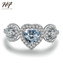 Sliver Color Luxry Heart Wedding Ring Set Engagement AAA CZ Crystal Jewelry For Women with Austrian Crystal  R501