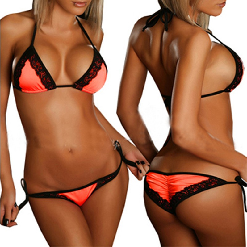 Hot Wholesale Scrunch Butt Bikini Set Lace Swimsuit Extreme Sexy Swimwear Women Micro Mini Bikinis Bathing Suits Drop Shipping 7