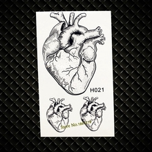 Real Heart Designs Waterproof Black Temporary Tattoo MEn Fake Flash Transfer Tattoos paste GH021 Women Makeup Body ARm Tattoo