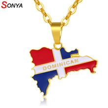 SONYA Dominican Map And Flag Pendant Necklaces For Women/Men Gold/Silver Color Dominicans Country Map Jewelry Bijoux Femme(China)