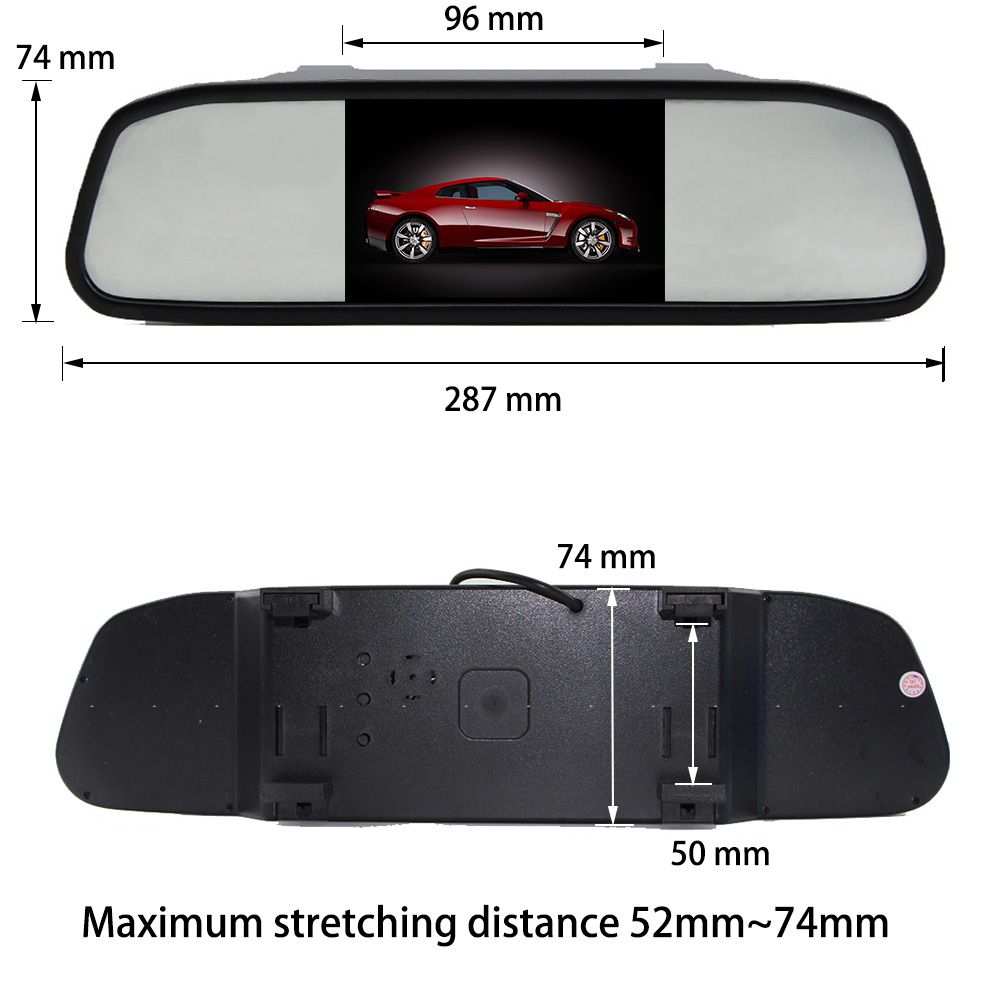Liandlee 4.3inch Universal HD Car Rearview Mirror Display LCD Digital DVD VCD Car Rearview Mirror Display Monitor video input (6)