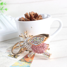 Fly Elephant Pink Big Wing Ear Charm Pendant Crystal Purse Bag Keyring Key Chain Women In Apparel & Accessories Elegant Gift