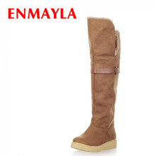 ENAMYLA Long Boots Women Flats Round Toe Buckle Shoes Fashion Snow Boots Women Knee High Women Knight Warm Boots Big size