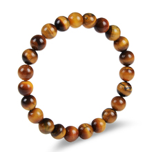 Tiger Eye Natural Stone Bracelets Elastic Rope Chain Lava Round Bead Buddha Bracelets  For Men&Women Jewelry
