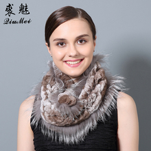 QiuMei Natural Fur Ring Scarf Genuine Rex Rabbit Fur With Fox Fur Scarves New 2017 Female Warm Scarves and Shawls Winter(China)
