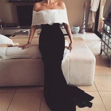 Robe de Soiree 2017 Elegant Boat Neck White and Black Evening Dresses Stretch Satin Vestido de Fiesta 2017 Prom Gowns Customize