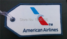 Embroidered Air Plane American Airlines AA Luggage Tag