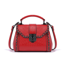 KEYTREND Novelty Women Shoulder Bags Small Red Totes Handbags Stylish Chain Decorative Lock Cover Design For Ladies KSB240