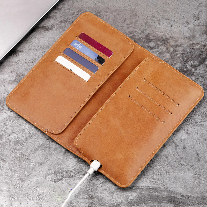 HARRMS Genuine Leather Mens Wallets 5.5 Cell Phone Wallets Ultra Thin Long Man Purse Card Holder Gift For Men <br>