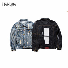 Men's Destroy Washed Ripped Denim Jacket 2017 Streetwear Retro High Quality Zipper Patch Holes Designs Cowboy Jackets For Men(China)