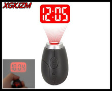 Hot sale!New Fashion Mini Projection Clock Lamp Keyrings Red Light Keychains best Gift XGKJZM