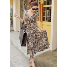 2017 vintage style sexy leopard dress women summer clothes work office wear ladies maxi dresses long casual vestidos AA6278