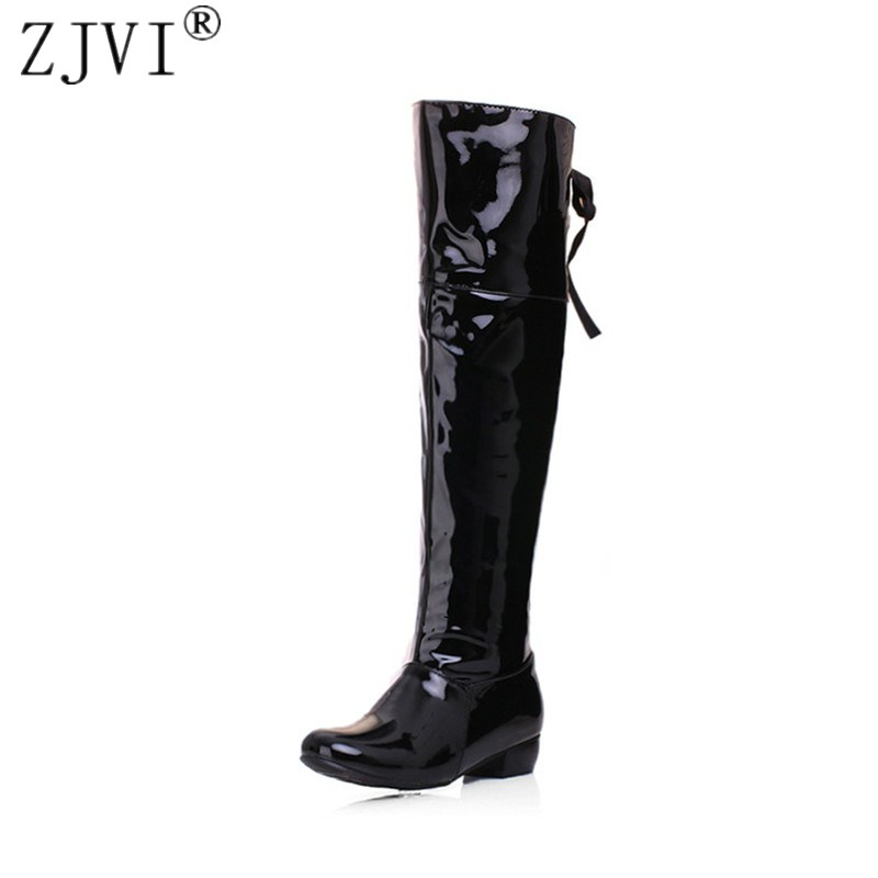 ZJVI Fashion patent PU thigh high boots spring autumn Women knee high rain boots 2018 Woman Black white red shoes ladies shoes<br>