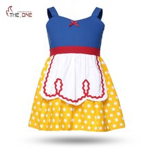 MUABABY Girls Snow White Dresses Baby Girls Alice Dots Apron Princess Party Cosplay Costume Kids Summer Sundress Brithday Gift