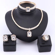 Women's Clear Crystal Jewelry Set Gold Color Party Synthetic Gemstone Wedding Party Gift Bridal Costume African Jewelry Set(China)