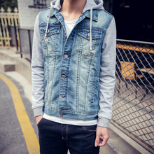 2017 Autumn New Hot Jeans Jacket Men Casual Hoodie Denim Jacket Men Jeans tops men Hooded Denim Jeans(China)