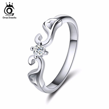 ORSA JEWELS Trendy Lead & Nickel Free Silver Color Crown Ring Princess Cut 0.6 Carat AAA Cubic Zirconia Rings for Women OR10