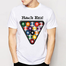 Track Ship+New Vintage Retro Cool Novelty Punk Tees T Shirts Rack Em! Pool Balls Billiards Men Top Tee(China)
