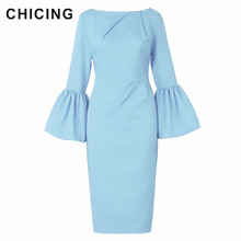 CHICING Haute Classe Sexy Office Lady Tempérament Flare Manches Col Rond Robe Femmes 2018 Moulante Robe Crayon Robes A1609031(China)