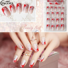 TKGOES 24pcs/set Beauty Pre Design Nail Tips Acrylic Nails Full French nail tips 3d False Nail With Free Glue JQ030