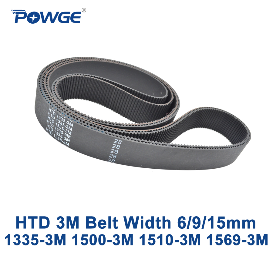 POWGE HTD 3M Timing belt C=1335 1500 1530 1569 width 6/9/15mm Teeth 445 500 510 523 HTD3M synchronous 1335-3M 1500-3M 1569-3M<br>