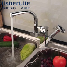 Usherlife Chrome Brass Kitchen Faucets 360 Degree Rotation Swivel Spout Pull Out Sprayer Wash Sink Mixer Faucet Sprinkler Tap(China)