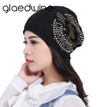 Glaedwine Womens Winter Hats Vintage Sun Eagle Rhinestone Beanies Hip Hop Unisex Baggy Bonnet New Casual Skullies Caps for women