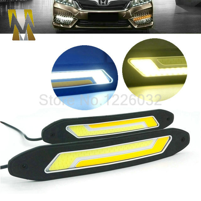 2 In 1 Flexible Car DRL Daytime Running Lights + Turning Lights LED COB Day Light DRL White Amber Turning Steering Signal Lamps<br><br>Aliexpress
