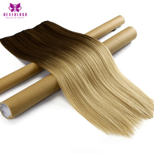 Neverland 60cm 5 Clips Straight Women Synthetic Hairpieces 8#/25# Brown to Sandy Blonde Ombre Clip-in One Piece Hair Extensions
