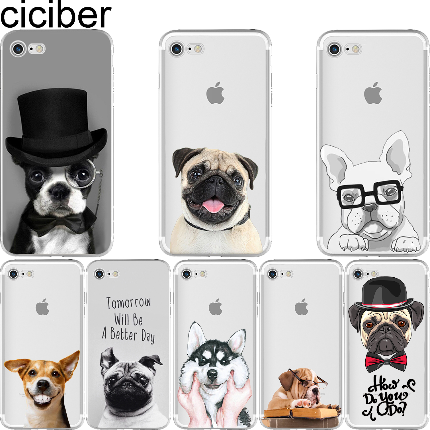 ciciber Animal Cute Pug Dog Pattern Design Soft Silicon Phone Cases Cover IPhone 6 6S 7 8 Plus 5S SE X Capinha Coque Fundas