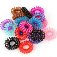 10Pcs Women Girl Colorful Elastic Rubber Hairband Rope Ponytail Holder Telephone Wire Rope Hair Tie Band Accessories xth040-3
