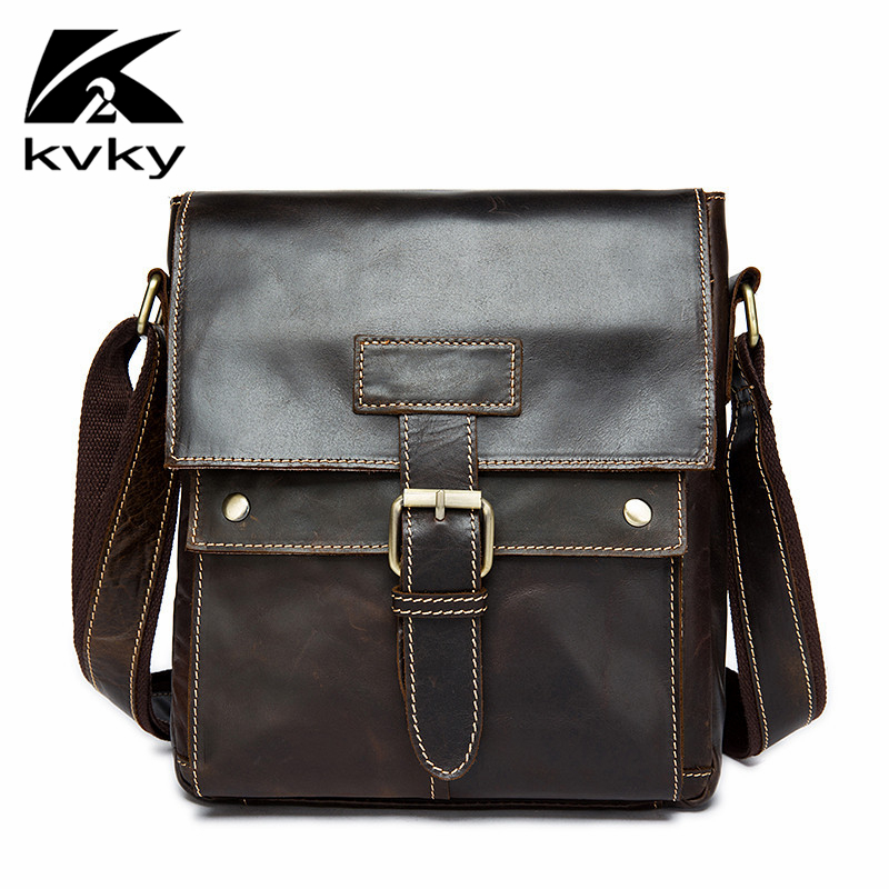 KVKY 100% Genuine Leather Mens Messenger Bags Vintage Small Mens Leather Shoulder Crossbody Bag Fashion Casual Mens Flap Bag<br>