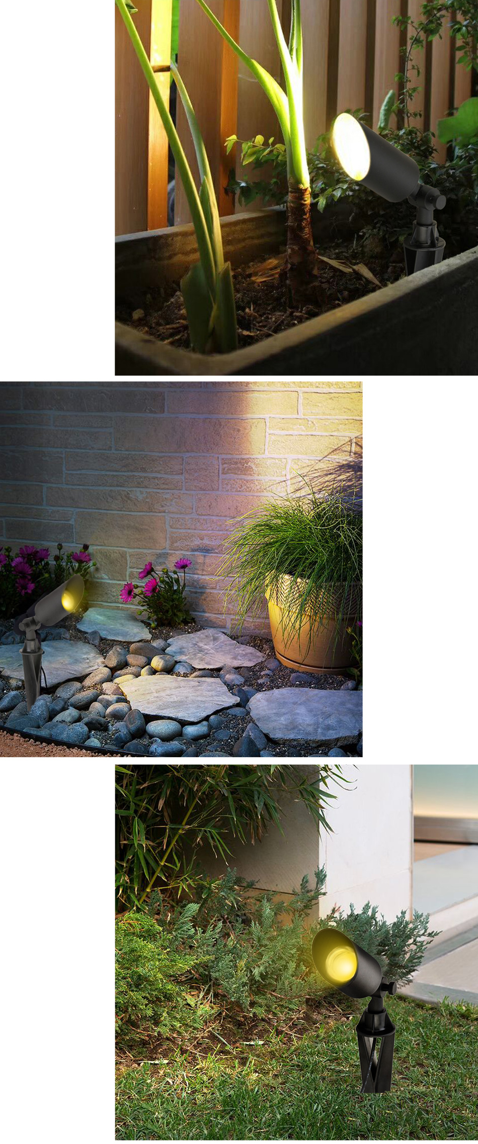 Garden Lights Outdoor Lawn Lamp LED Waterproof Spike Light CREE GU10 220V 110V for garden and backyard decoration yard christmas pathway Landscape Spotlight (7)