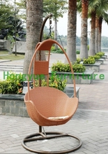 brown rattan egg hanging chair,outdoor furniture