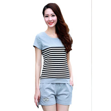 Women Sporting Suits Two Piece Set Summer Short Sleeves Striped T Shirt Tops+Shorts Sweat Suits Women Tracksuits Runway Outfit
