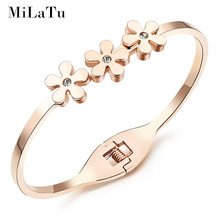 MiLaTu Fashion Daisy Bangles Bracelets For Women Rose Gold Color Stainless Steel CZ Stone Bangle Women Party Jewelry B259