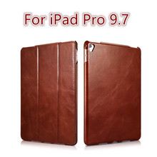Icarer Retro case For ipad pro 9.7 new fashion real leather Flip Tablet Case cover for Apple iPad pro 9.7 protective stand case(China)