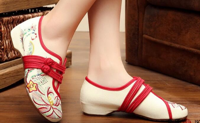Old Beijing Womens Mary Janes Shoes Casual Embroidery Shoes, Soft Sole Casual Dancing Shoes Woman Size 8 10<br><br>Aliexpress