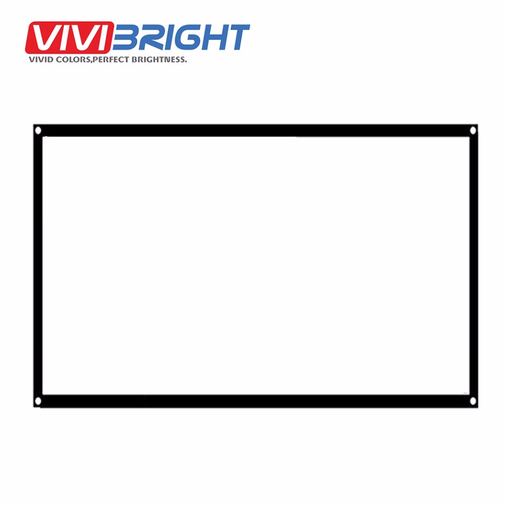 VIVIBRIGHT 16:9 Portable Projector Screen, 60 inch PVC Screen for Home theater, Travel. Support LED Projector DLP proyector(China)