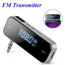 Mini Wireless 3.5mm In-car Music Audio FM Transmitter LCD Display Car Kit Transmitter For Android / iPhone(China)