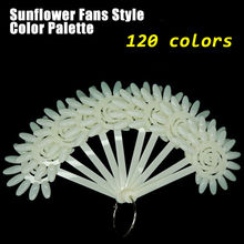 120 Colors False Nails Tips Sunflower Design of Nails Acrylic Fake Nails Pallet Fan Shape Faux Ongles Avec Colle Nep Nagels
