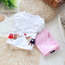 Free shipping Retail novelty 2013 Baby summer clothes baby short sleeve kids tops girl t-shirts baby cotton animal cute t shirt(China)
