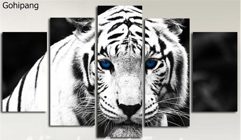 5 Piece Painting Calligraphy Blue Eyes Tiger Canvas Painting Prints Wall Art Pictures Modern Poster Home Decor No Framework(China)